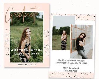Rose Gold Graduation Invitation, 2018 High School Graduation Card, Graduation Announcement Template Senior Card for Graduation, m207