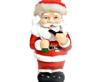 Christmas Santa Bank Smoking Pipe Hard Plastic  Signed Tangs 1983