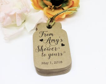 Bridal shower tags, Mason jar shaped tags, Kraft paper tags, From my shower to yours, Shower favor tags, Bride's name gift tags, Shower tags