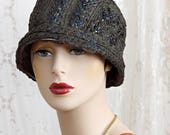 Vintage 1920's Authentic Flapper Cloche / Helmet Style / Woven Straw Hat / Art Deco /  23""