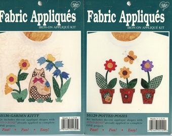 What's New LTD Iron-On Fabric Appliques #55129 Potted Posies and #55130 Garden Kitty Die Cut Applique Shapes with Fus-O-Bond