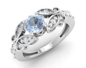 Diamond Wedding Ring | AAA Aquamarine Rings | Aquamarine & Diamond Engagement Ring | Aquamarine Ring Round Cut | Aquamarine Ring White Gold