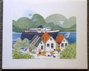 "Alaskan Artist Rie Munoz ""Ferry Arriving at Tenakee"" Limited Edition Print"