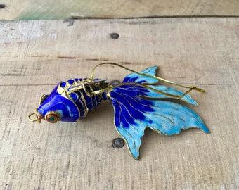 Beautiful Blue Metal Fish Ornament