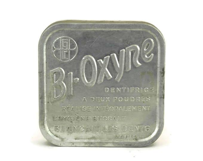 French Vintage Bioxyne Toothpaste Powder Box. Aluminum Pharmacy Tin Box. Medical Curiosity.