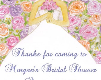 Personalized Bride Bridal Shower and Wedding Favor Tags or Stickers