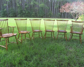 Vintage Stickley Chairs, Set Of Six Chairs, Furniture, Wood Chair, Dinning Chair, dining room decor, farmhouse kitchen, vintage furniture,