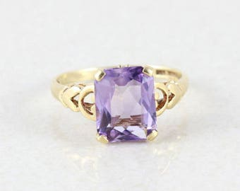 10k Yellow Gold Purple Amethyst Ring Size 6 1/4