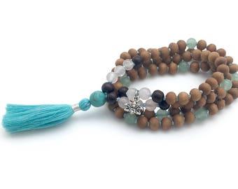 Sandalwood & Gemstone Mala, hand-made, 108 bead mala, with rose quartz, turquoise, aventurine, rosewood, lotus charm