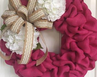 Burlap summer wreath