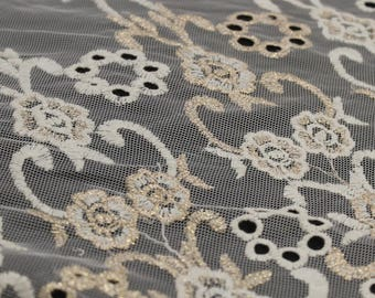 Off White Gold Embroidered Eyelet Foggy Foil with Scallopped Edge Lace Fabric by the Yard- Style 2415
