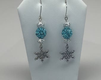Blue and silver holiday snowflake earrings (style 1)