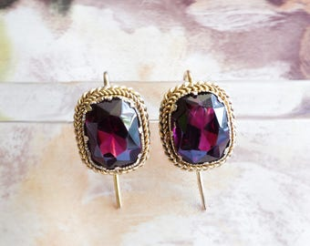 Antique Garnet Earrings 7.31ct t.w. Victorian Circa 1890's 10k/18k Yellow Gold Gemstone Drops