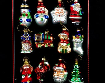 Hand Blown Painted Mercury Glass Ornaments, Set of 12