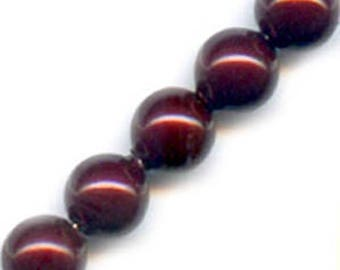 10 x 12 mm Burgundy Pearly round glass beads