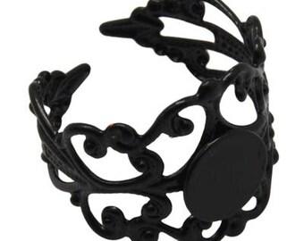 1 x black filigree Adjustable ring finding
