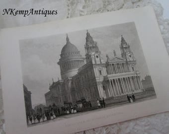 Antique print St Pauls Cathedral