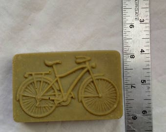 "Bicycle molded ""Lemongrass"" goat milk soap."