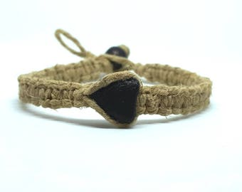 Hemp Bracelet- With Heart Shaped Stone