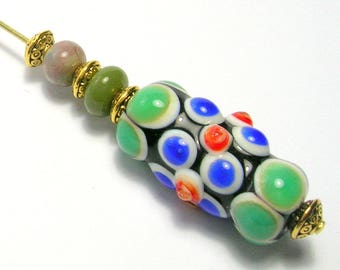 Art Bead Hat Pin/Stick Pin - Blue/Green