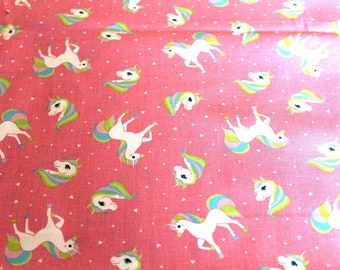 coupon fabric pink unicorns
