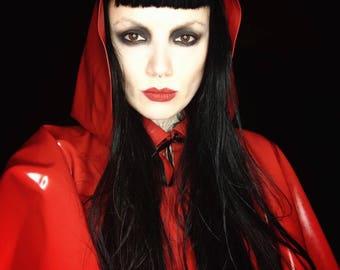 Red Hooded Cape Jane Doe Latex