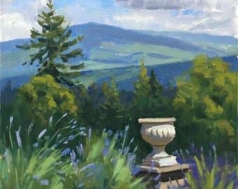 Lavender view - Original contemporary Landscape painting - Oil Painting