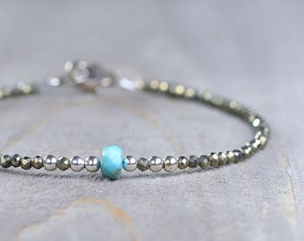 Turquoise Birthstone Bracelet, December Birthstone Jewelry, Skinny Turquoise & Pyrite Beaded Gemstone Bracelet, Sterling Silver, Gold Filled