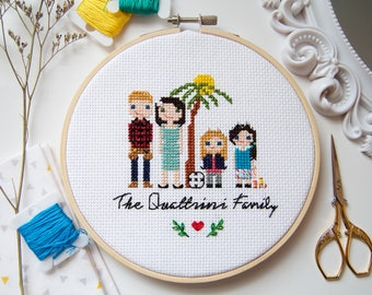 Custom Cross Stitch Family Portrait / Hobbies / Occupations included