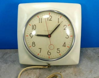 Vintage 1940's Retro Wall Clock - General Electric Plug In Wall Clock - White with Orange and Black Dial