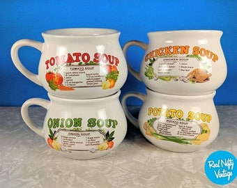 Vintage Soup Mugs - Handled Soup Mugs - Tomato Soup, Onion Soup, Chicken Soup, Potato Soup - Country Kitchen Mugs
