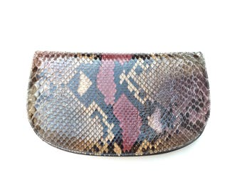 Vintage 1980s snakeskin bag with multi compartment interior and matching strap