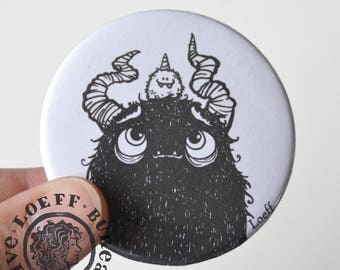 Large Button Monsters 2 1/4 inch, illustration on button, little and big monster
