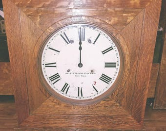 gorgeous oak arts and crafts mission wall clock large self winding clock co antique