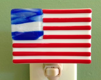 American Flag, USA, Patriotism, USA, Old Glory, Memorial Day, 4th of July, Night Light, Fused Glass,  Plug in, Patriotic
