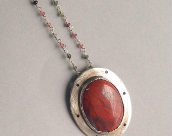 Silver & red agate necklace