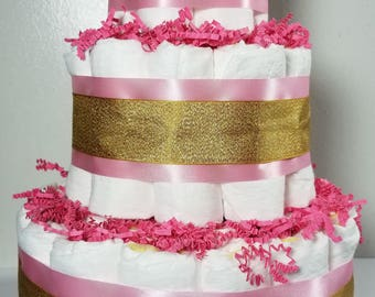 3 Tier Diaper Cake - Pink and Gold Baby Girl Diaper Cake - Girl Baby Shower Centerpiece
