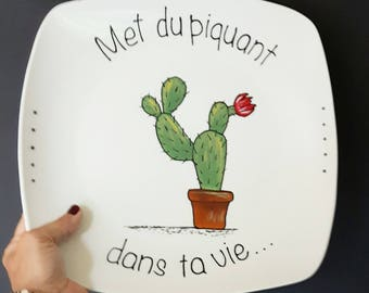 Plate memo cactus put spice in your life, porcelain, gift, decoration, adult, painted by hand.