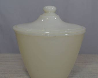 Vintage Fire King Milk Glass Lidded Cannister