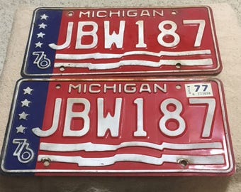 Vintage Pair of Michigan 1976 License Plates
