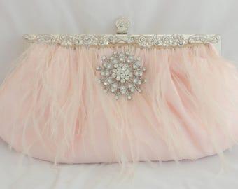 Blush Wedding Clutch, Ostrich Feather Bridal Handbag, Blush Pink Clutch, Wedding Clutch, Feather Clutch, Crystal Wedding Handbag in Blush