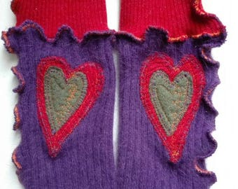 Upcycled wool arm warmers purple gloves, sleeves, recycled fabric, wool, angora, heart, while winter gloves, fingerless gloves, embroidered boho