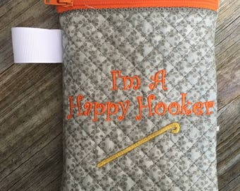 Crochet Hook Case - Gray and Orange Crochet Hook Case - Crochet Hook Holder - Crochet Storage - Hook Organizer - Crochet Hook Storage