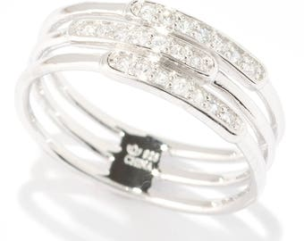 Sterling Silver 0.21ctw White Zircon Band Ring SZ 4