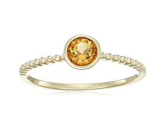 10k Yellow Gold Citrine Solitaire Beaded Shank Stackable Ring, Size 7