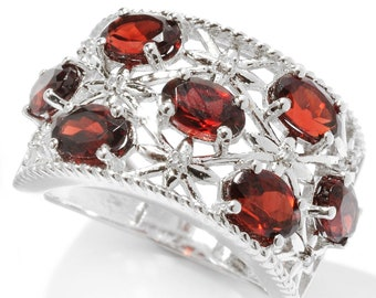 Sterling Silver 3.9ctw 6X4mm Oval Red Garnet & White Zircon Cluster Ring, Size 7