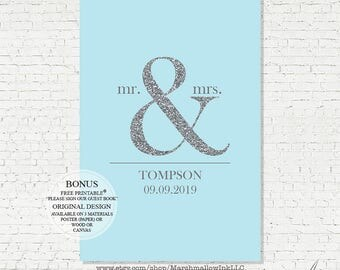 Wedding Guest Book Poster - Faux Silver Sparkle Wedding Guest Book - Bridal Gift Wedding - Personalized Wedding Art Print - Wedding Poster