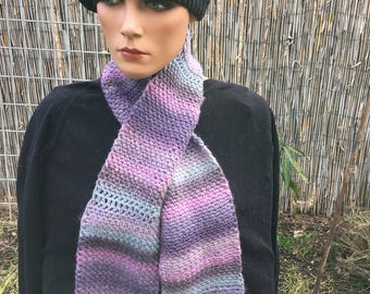 Crocheted Wool-Blend Washable Scarf