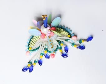 Japanese style hair pin - hair accessories - head jewelry - colorful hair brooch - haute couture jewelry design - hair fastener - hair clip