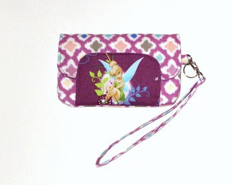 Tinkerbell inspired Smart Phone Wallet, Smartphone Clutch, IPhone Wristlet, Fits Most Cell Phone, IPhone 7 and Galaxy s7, Disney, Fairy
